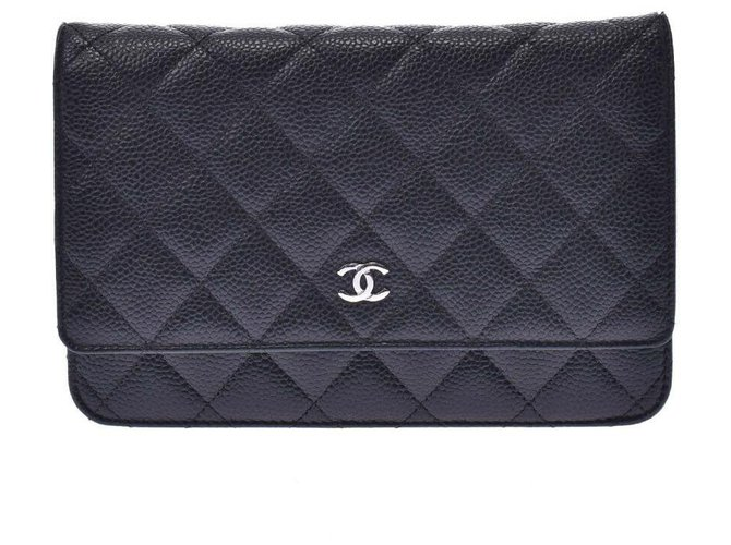 Chanel Chanel Wallet On Chain Handbags Leather Black ref.192140