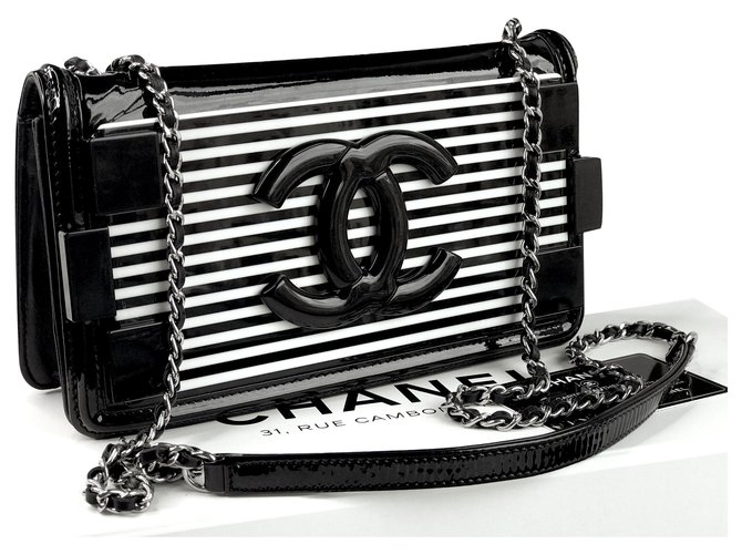 Chanel Lego Brick Bag w/card, box, Dustbag Handbags Leather,Patent leather,Plastic Black,White ref.192151