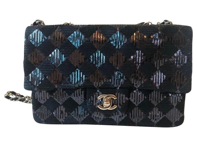 Chanel Chanel black sequin flap bag Handbags Cloth Black ref.192913