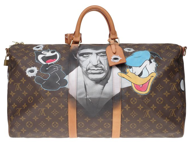 """Louis Vuitton Louis Vuitton Keepall bag 55 shoulder strap customized """"Scarface II"""" by artist PatBo! Bags Briefcases Leather,Cloth Brown ref.193728"""
