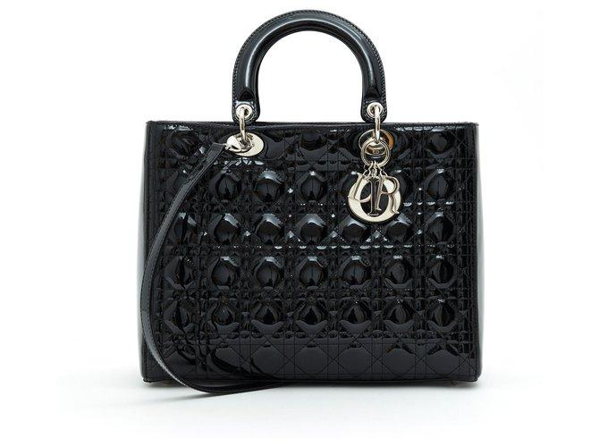 Christian Dior LADY DIOR GM BLACK PATENT LIGHT GOLDEN HDW Handbags Patent leather Black ref.193820