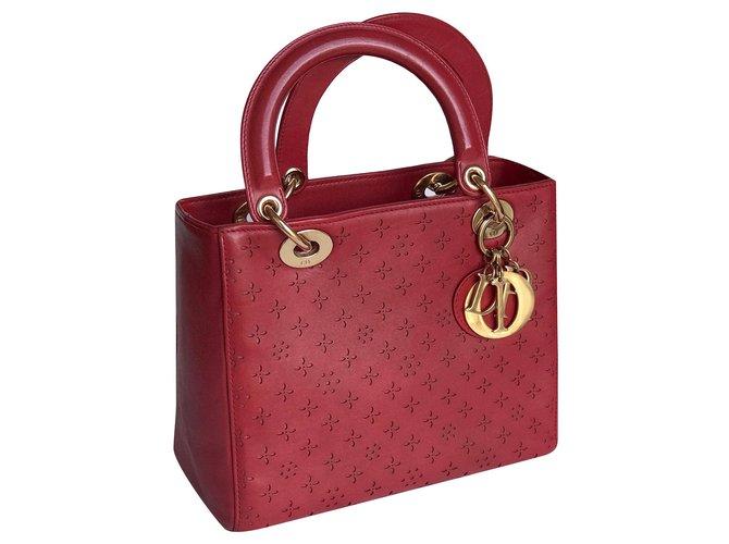 Dior Handbags Handbags Leather Dark red ref.194135