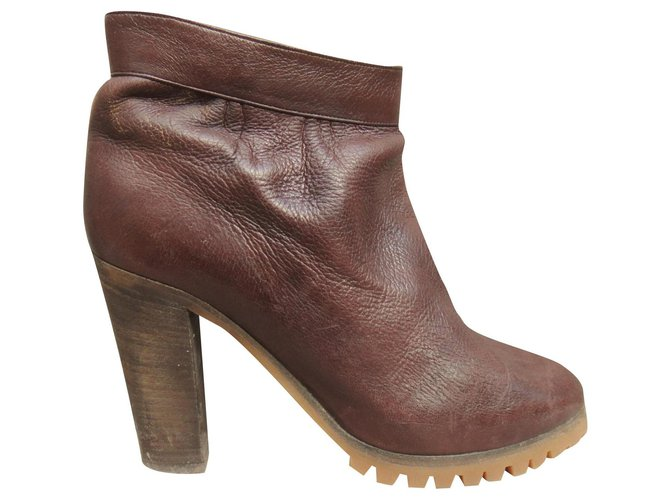 Chloé Chloé p boots 38,5 Ankle Boots Leather Dark brown ref.194191