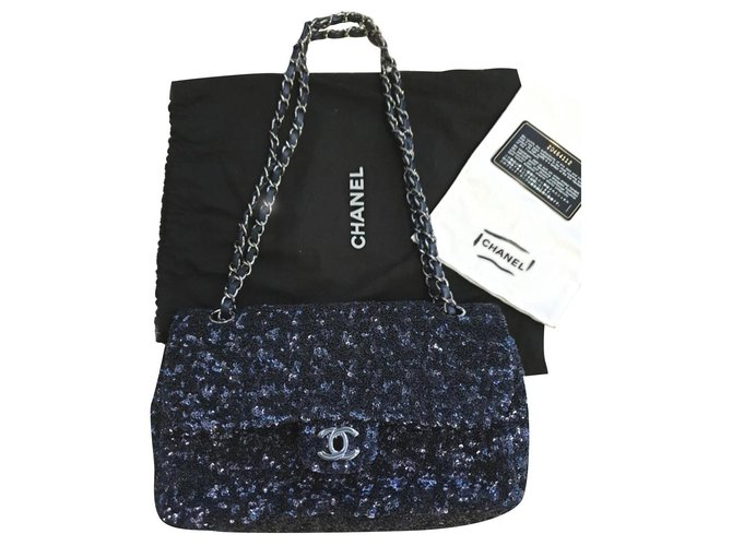 Chanel Rare Chanel sequin classic flap bag Handbags Other Blue ref.194199