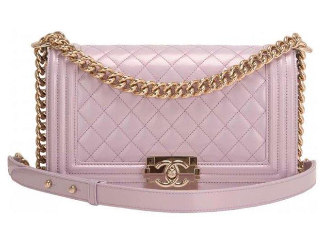 Chanel Chanel Boy Bag light purple , Medium size , perfect condition , neuf Handbags Leather Purple ref.194430