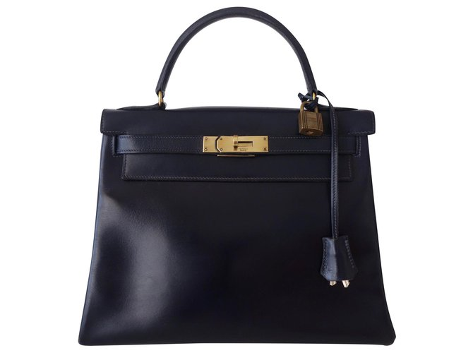 Hermès Hermes Kelly bag 28 Handbags Leather Navy blue ref.194432