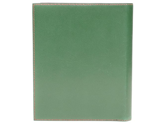 Hermès Hermès Envelope clutch in madder red and green courchevel leather Clutch bags Leather Red,Green ref.194445