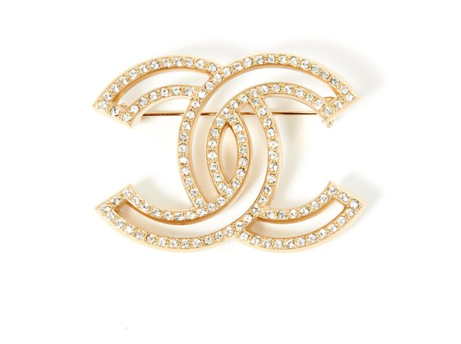 Chanel large cc GOLDEN RHINESTONES Pins & brooches Metal Golden ref.194827