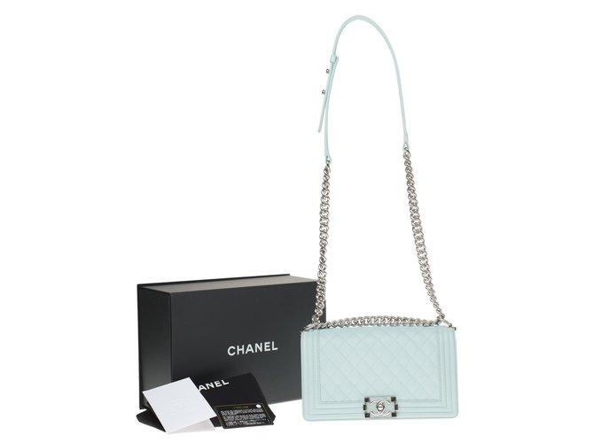 Chanel Splendid Chanel Boy bag in water green caviar leather, shiny silver metal hardware Handbags Leather Light green ref.194941