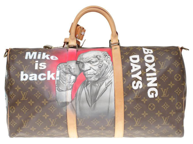"Louis Vuitton Louis Vuitton Keepall Travel Bag 50 shoulder strap in custom monogram canvas ""Mike Tyson Vs Mickey"" numbered #64 by PatBo Travel bag Leather,Cloth Brown ref.194943"