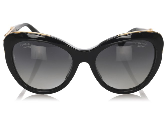 Chanel Chanel Black Bijou Cat Eye Tinted Sunglasses Sunglasses Other,Metal,Plastic Black,Golden ref.194957