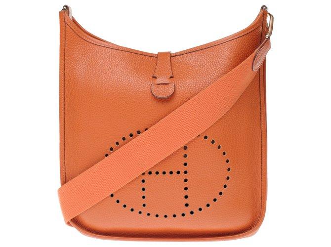 Hermès Hermès Evelyne GM bag (Big model) Orange Togo leather, garniture en métal doré Handbags Leather Orange ref.195030