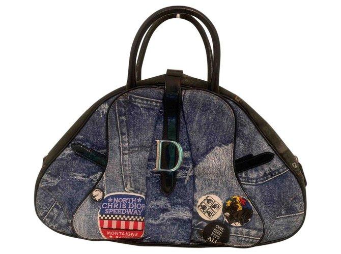 Dior Saddle Bowler Handbags Denim Blue ref.195077
