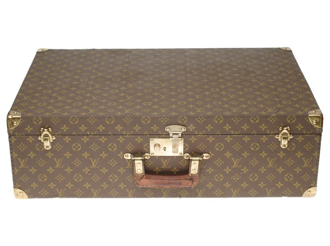Louis Vuitton Very beautiful Louis Vuitton vintage rigid suitcase 70cm in monogram canvas and leather, brass trim Misc Leather,Cloth Brown ref.195096