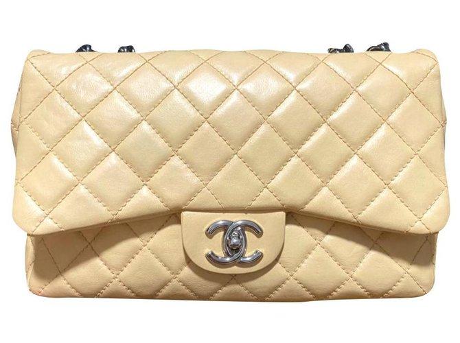 Chanel Chanel Beige Jumbo Bijoux chain classic flap bag Handbags Leather Beige ref.195138