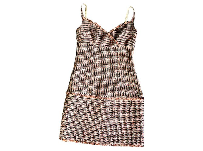 Chanel tweed summer dress Dresses Tweed Multiple colors ref.195527