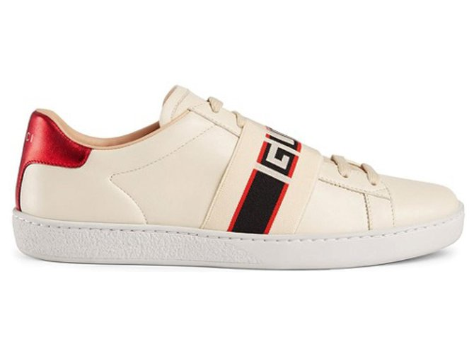 Gucci Gucci White Ace Stripe Sneakers Sneakers Other,Cloth,Cloth White,Red ref.195562