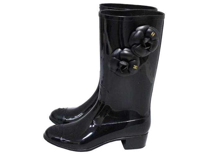Chanel Wellington boots Boots Rubber Black ref.195882