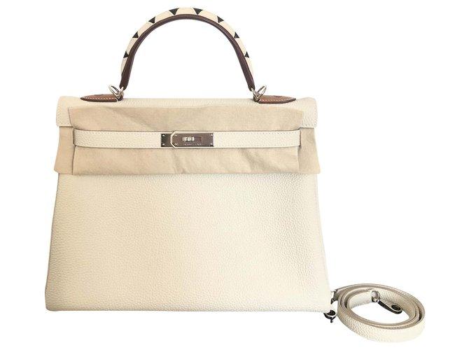 Hermès hermes kelly 32 Galloping Handbags Leather Beige ref.196003