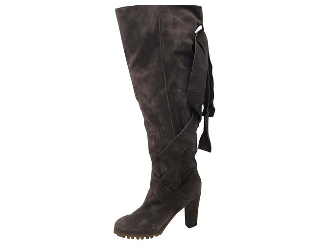 Chloé Over the knee boots Boots Suede Dark grey ref.196060