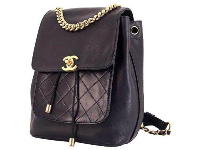 Chanel Chanel backpack Backpacks Leather Black ref.196176