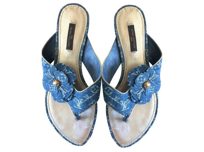 Louis Vuitton Sandals Sandals Denim Multiple colors ref.196661