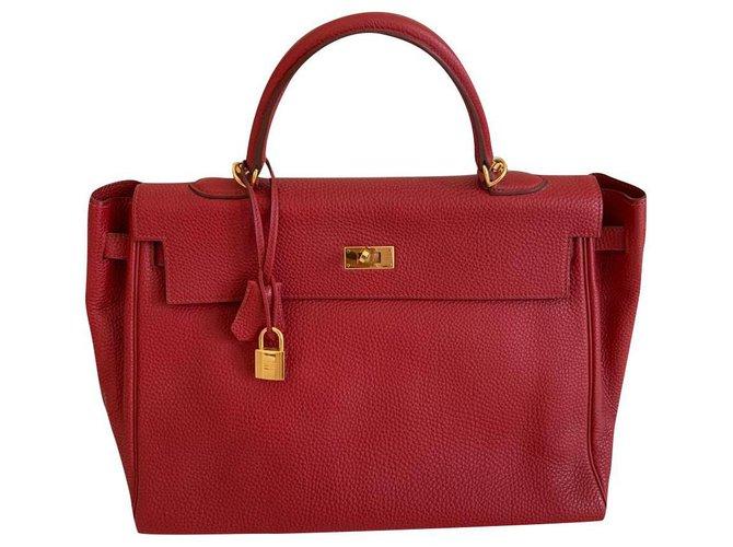 Hermès Kelly 32 Red Leather  ref.197015
