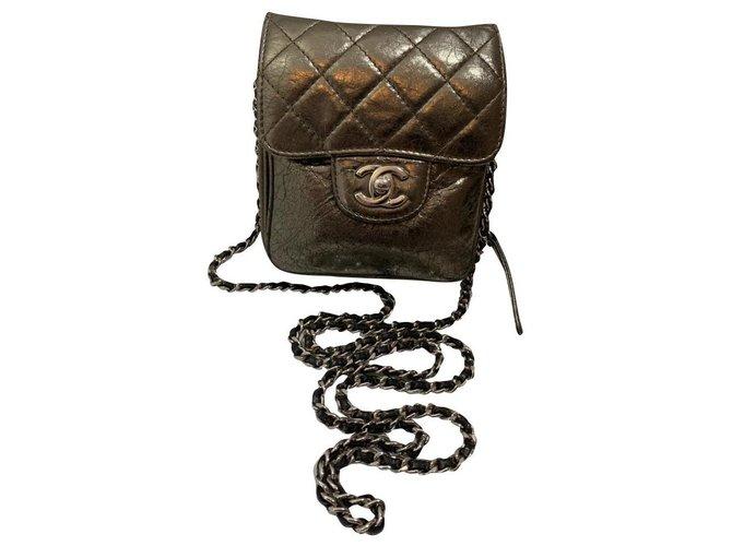 Chanel Chanel Handbags Leather Bronze ref.197146