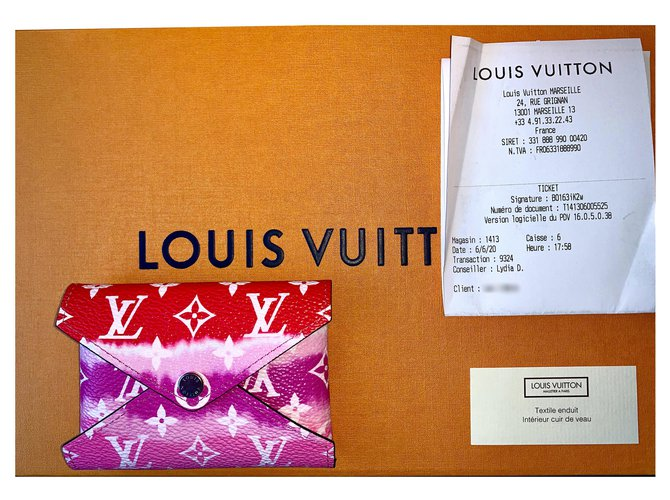 Louis Vuitton KIRIGAMI LV ESCALE POUCH Clutch bags Leather,Cloth Red ref.197188
