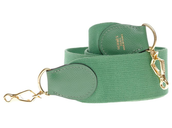 Hermès Hermès sport model shoulder strap in canvas and green leather, gold metal hardware for Hermès bags Purses, wallets, cases Leather,Cloth Green ref.197312