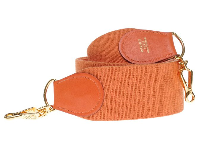 Hermès Hermès sport model shoulder strap in orange canvas and leather, gold metal hardware for Hermès bags Purses, wallets, cases Leather,Cloth Orange ref.197318