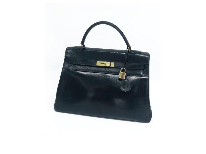 Hermès Hermes Kelly bag 32 vintage black box leather Handbags Leather Black ref.197425