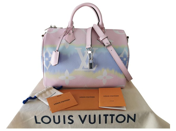 Louis Vuitton Speedy Escale 30cm Handbags Cloth,Lambskin Pink,White,Blue ref.197446