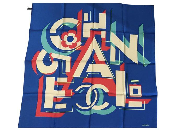 Chanel SCARF CHANEL SILK Scarves Silk Blue ref.197522