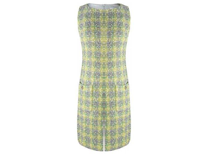 Chanel yellow blue tweed dress Dresses Tweed Multiple colors ref.197894