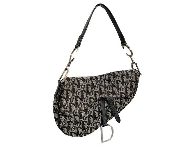Dior Saddle bag Dior monogram Handbags Leather,Cloth Black ref.197971
