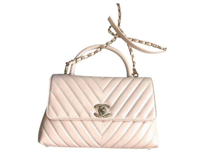 Chanel Chanel chevron medium coco handle bag Handbags Leather Beige ref.198531