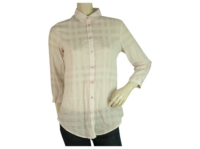 Burberry Burberry Brit Pink 3/4 sleeves Signature Check Top Button Down Shirt Blouse sz S Tops Cotton Pink ref.198721