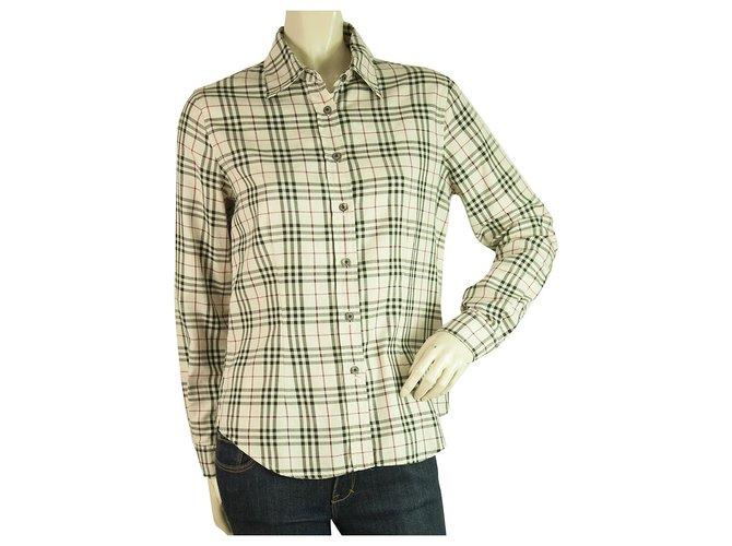 Burberry Burberry London Beige Signature Check Top Button Down Shirt Blouse sz M Tops Cotton Beige ref.198726