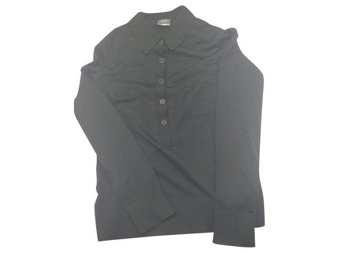 Chanel Knitwear Black Wool  ref.199096