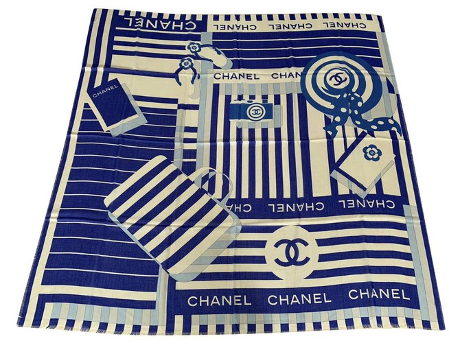 Chanel STOLE CHANEL CASHMERE Scarves Cashmere Blue ref.199198