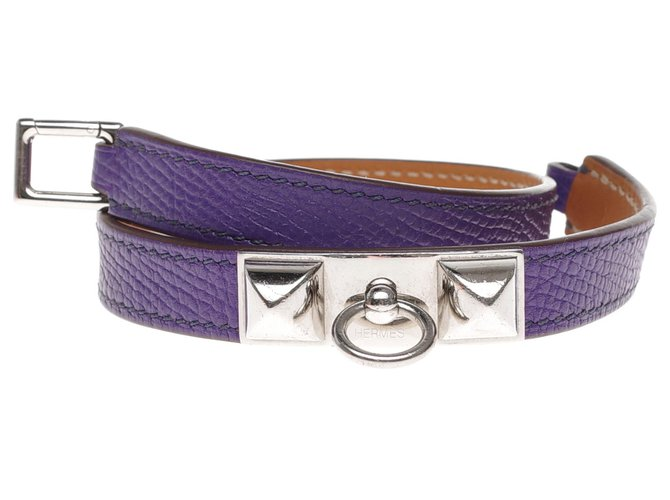 Bracelets Hermès Superbe Bracelet Hermès Kelly double tour en cuir epsom violet, garniture en métal argent palladium Cuir Violet ref.199459