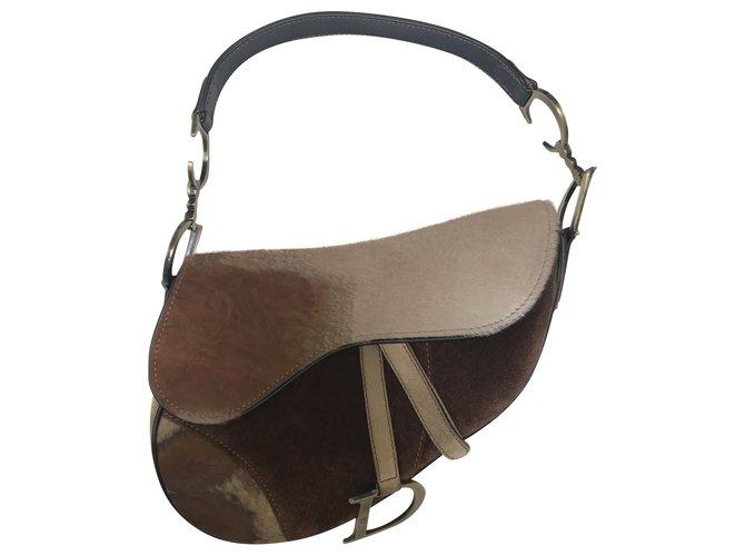 Dior Saddle Handbags Leather,Deerskin Light brown ref.199782