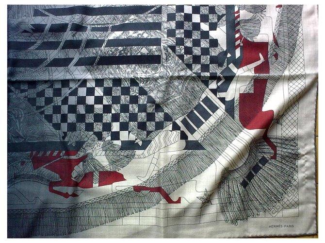 Hermès CRAZY STEEPLE PRINTER Silk scarves Cashmere Grey ref.200333