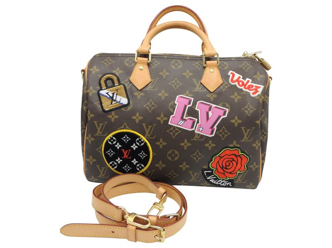 "Louis Vuitton LOUIS VUITTON SPEEDY BAG 30 limited series ""PATCHES"" Handbags Leather,Cloth Multiple colors ref.201301"