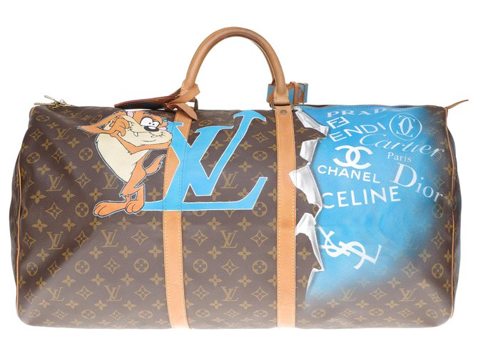 """Louis Vuitton Beautiful Louis Vuitton Keepall travel bag 60 in custom monogrammed canvas """"TAZ"""" and numbered 67 Travel bag Leather,Cloth Brown ref.201556"""