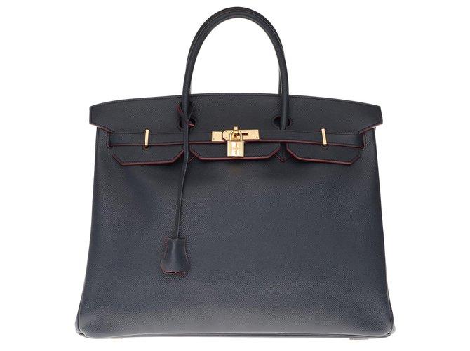 Hermès Splendid Hermès Birkin 40 in epsom blue navy leather and burgundy edges, gold plated metal trim, in superb condition! Handbags Leather Blue,Dark red ref.200738