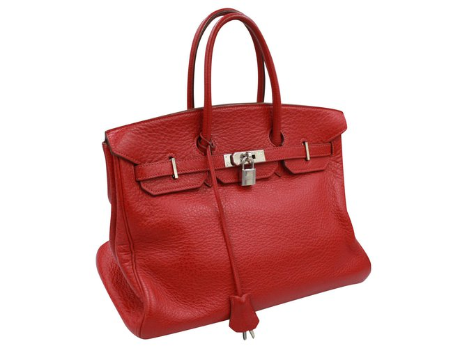 Sac à main Hermès Birkin Rouge 35cm Cuir  ref.202941