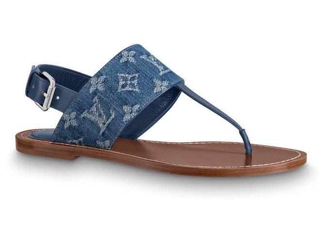 Louis Vuitton Starboard flat sandals Blue Denim  ref.203603