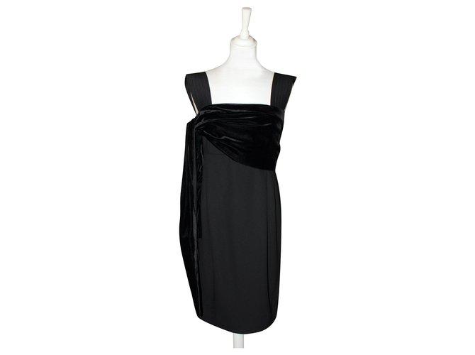 Robes Gianni Versace Robe Vintage Gianni Versace Soie Velours Laine Viscose Noir Ref 203911 Joli Closet